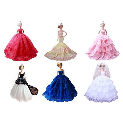 Amazon.es: Vestidos de Barbie Fashionista, Lance Home 4sets Vestidos Elegantes del Partido de Boda de la Manera Para Barbie Doll para el Regalo de ...