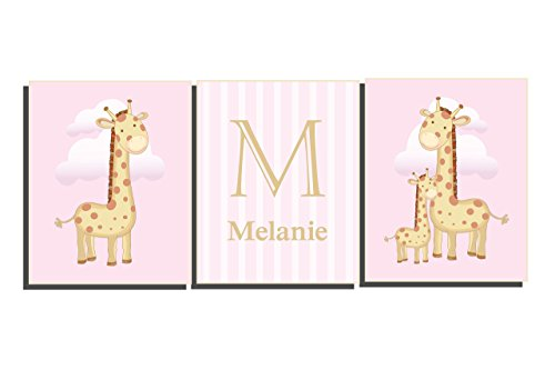 Baby Girl Nursery Wall Letters Customize Name Initial Pink Brown Tan Art Set of 3 Unframed Prints Giraffe Pictures 8 x 10 inch by Nursery Art 4 Kids