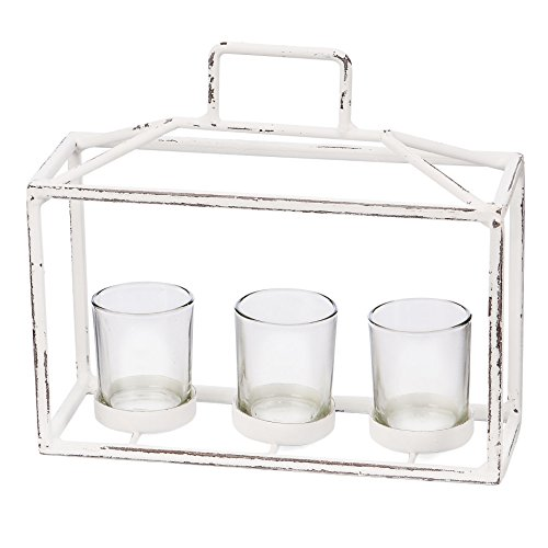- Skalny White Rectangle Metal & Glass 3 Tea Light Candle Holder, 9