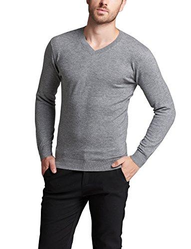 Zofirao Men's 100% Soft Wool Full Sweater Perfect Slim Fit V-Neck Sweater (Small, Light ()
