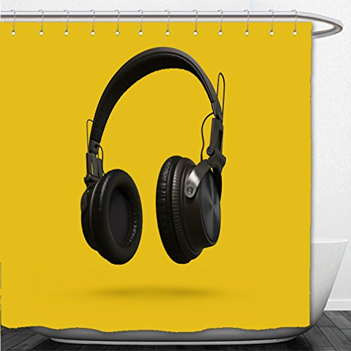 Interestlee Shower Curtain black headphones isolated on a yellow background d rendering 562781728 (Pch Canopy Bed)