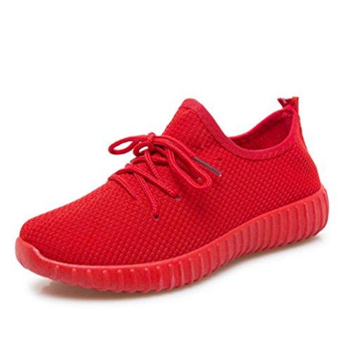Zapatillas Las Correr para Zapatos Jogging Las Verano de Zapatos de Caminando Zapatillas de Mujeres Deportivas Transpirable Mujeres Rojo BnxF4ft
