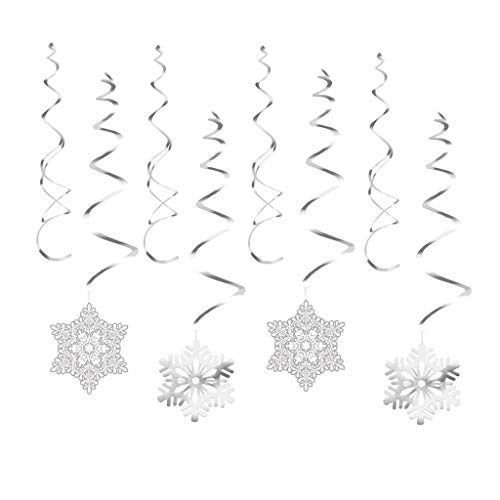 (Prettyia Christmas Spiral Ribbon Snowflake Garland Set Xmas Tree Party Ornaments)