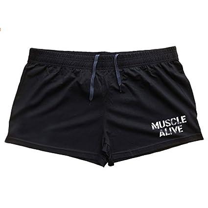 Musclealive Uomo Palestra Bodybuilding Allenarsi/Pantaloncini Corsa Corti Cotone Shorts