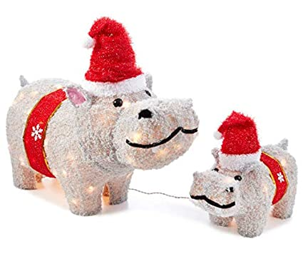 set of 2 outdoor lighted santa hat hippos christmas holiday yard decorations figures sculptures display - Christmas Hippo Outdoor Decoration
