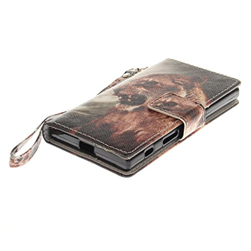 Para Sony Xperia X Compact/XC funda, (moda del perro) caja del teléfono de la PU patrón en pintado ,Función de Soporte Billetera con Tapa para Tarjetas correa de mano soporte para teléfono león