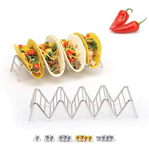 2lbDepot Taco Holder Stand - Chrome Finish - Premium 18/8 Stainless Steel - Holds 4 or 5 Hard Soft Tacos - Five Styles Available - Set of 2 Racks