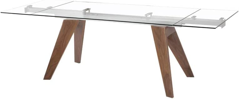 Limari Home Moser Extendable Dining Table, Walnut Clear