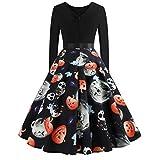 Clearance Halloween Dress, Forthery Women Pumpkin Skull Skater Swing Dress Vintage Elegant A-line Skull Dress (US Size XS = Tag S, Black)