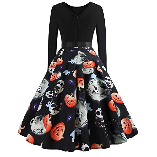 Clearance Halloween Dress, Forthery Women Pumpkin Skull Skater Swing Dress Vintage Elegant A-line Skull Dress (US Size L = Tag XL, Black)