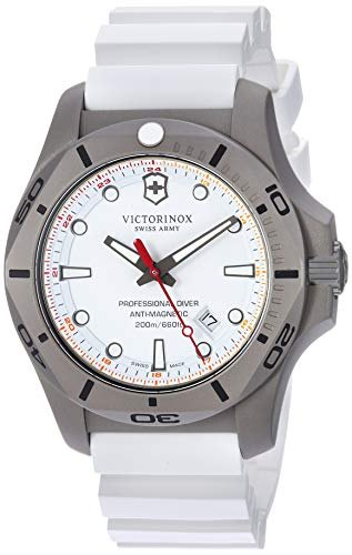Victorinox Swiss Army Men's I.N.O.X. Titanium Swiss-Quartz Diving Watch with Rubber Strap, White, 22.4 (Model: 241811) (White Polished Dial)