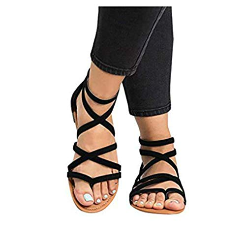 (Womens Gladiator Strappy Flat Open Toe Lace Up Criss Cross Strap Ankle Wrap Summer Beach Thongs)