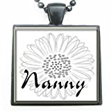 Nanny Grandmother Flower Glass Tile Black Pendant Necklace W/chain