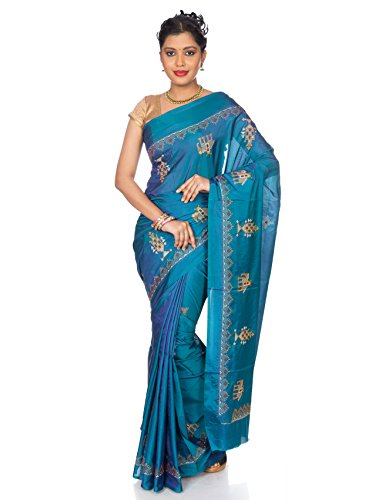 India Saree (Mandakini — Indian women's saree - Art silk with kasuti embroidery (Turquoise))