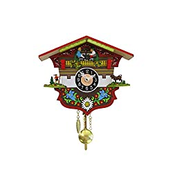 Black Forest Chalet Edelweiss Miniature 6 x 5 Inch Wood Wall Hanging Cuckoo Clock