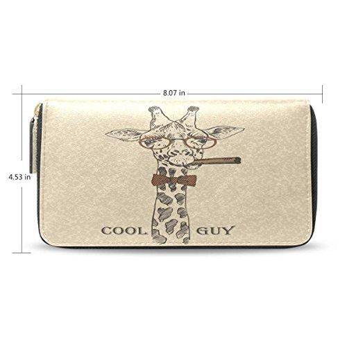 (Womens Wallets Retro Smoking Giraffe Passport Long Zip Around Leather Clutch Purse Handbag)