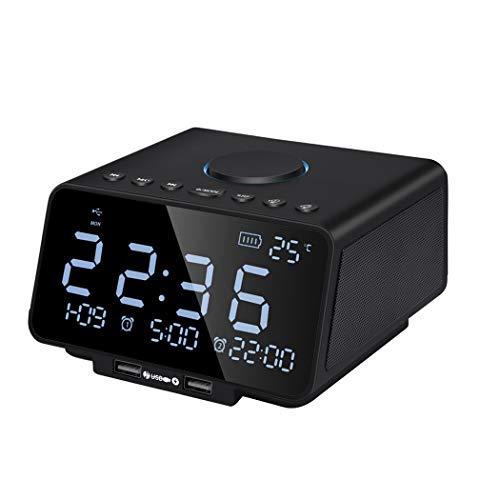 RENJUN Bluetooth Alarm Clock Date Indoor Temperature Display Audio Reminder Hands-free Calling FM Radio Sound Speaker…
