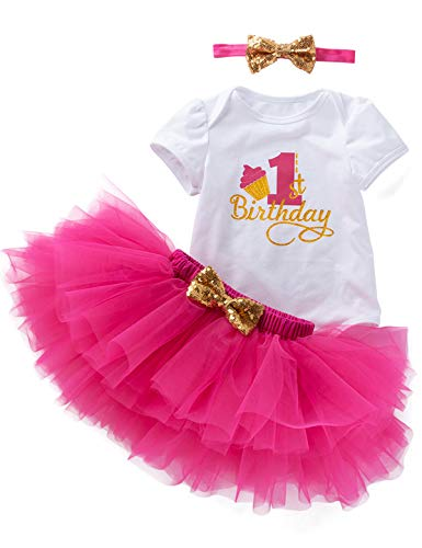 - 3Pcs Outfit Set Baby Girls One Year Old Birthday Lace Tutu Bodysuit Skirt with Headband (Pink03, 12-18 Months)