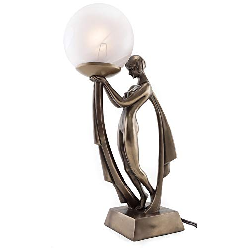 Top Collection Modern Art Deco Lady Lamp Statue – Decorative Table Lamp Sculpture in Premium Cold Cast Bronze- 16-Inch Collectible Beautiful Light Lighting Decor Goddess Figurine