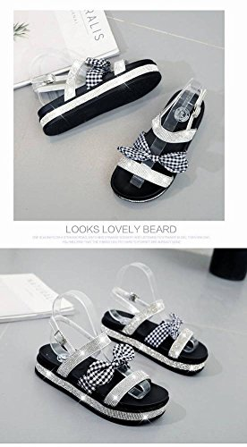Arco Harajuku Cabeza Plano Adulto de Mujer Gruesa Romanos Sandalia Tac Redonda Rhinestone Zapatos Goma Suela Sandalias Fondo Moda Estudiante BHqA5c