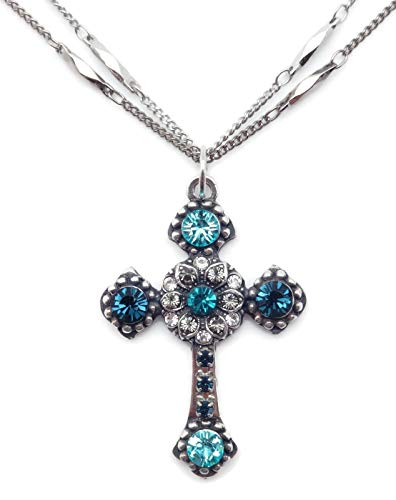 Mariana Frost Swarovski Crystal Silvertone Cross Pendant Necklace Blue Grey Clear Mix 1114