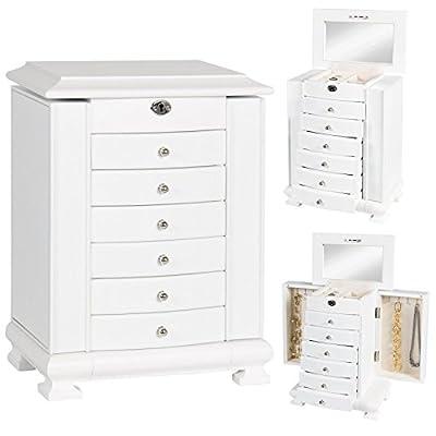 Luxury Wooden Jewelry Box Mirror Organizer Wood Cabinet Storage Chest - White