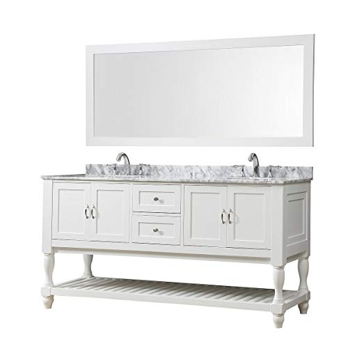 - Direct Vanity Sink 70-inch Mission Turnleg Double Vanity Sink Cabinet White Cabinet Carrara Marble top with 1 Mirror