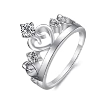 Charm Plated Ladies Crown Ring with Three Rhinestones