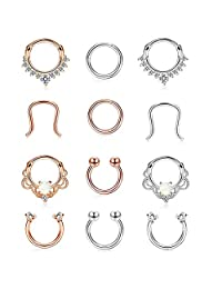 Finrezio 12Pcs 316L Stainless Steel Septum Piercing Nose Rings Hoop Cartilage Tragus Retainer Body Piercing Jewelry