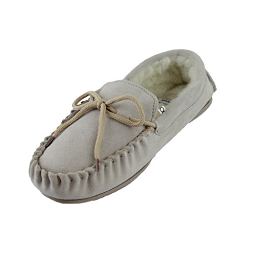 Lambswool Slippers Beige Sole Upper Hard Moccasin Suede Deluxe with Sheepskin World Mens Xfpxqnqt1