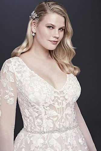 David\'s Bridal Illusion Sleeve Plunging Plus Size Wedding Dress Style  9SWG820
