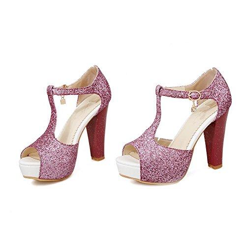 Amoonyfashion Hebilla Para Mujer De Tacones Altos Materiales De Mezcla Sólidas Sandalias De Dedo Peep Toe Púrpura