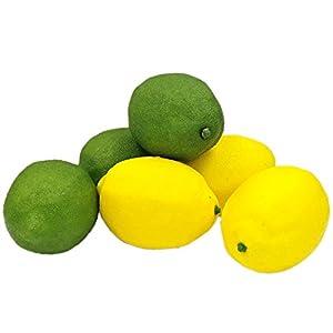 R.FLOWER 6PCS Yellow & Green Lifelike Simulation Artificial Lemon Kitchen Home Party Cabinet Decoration Fake Fruit 62