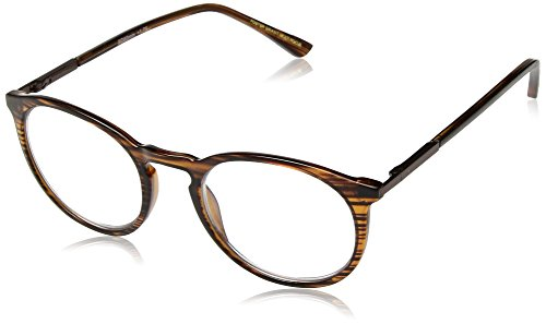 Foster Grant Unisex-Adult McKay Multifocus Glasses 1018255-150.COM Round Reading Glasses, Brown, 1.5