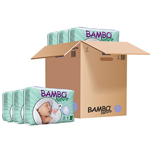 Baby Bambu Bamboo - Bambo Nature Eco Friendly Baby Diapers Classic for Sensitive Skin, Size 1 (4-9 lbs), 28 Count (6 Pack)