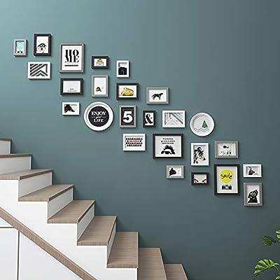 HY&PPJQ Escaleras Pared Foto, Pared de Marco de Foto Pared Combinación Creativa Lumbrera Pasillo Fondo Decoración de la Pared Portaretrato de Pared-G: Amazon.es: Hogar