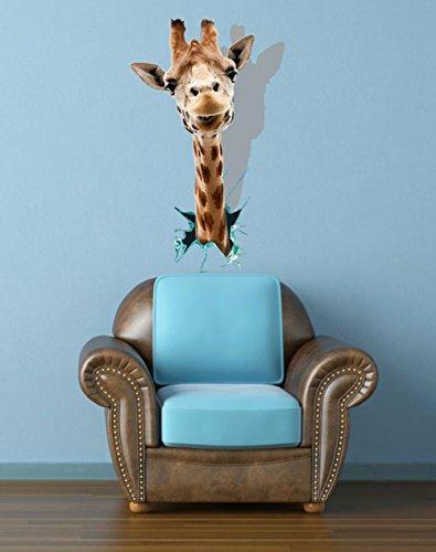 Jirafa cabeza impresora 3d fondo extraíble bastidor mural adhesivo ...