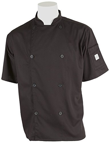 Mercer Culinary M61012BK5X Genesis Men's Short Sleeve Chef Jacket with Traditional Buttons, 5X-Large, Black (Ladies Jacket Chefs Traditional)