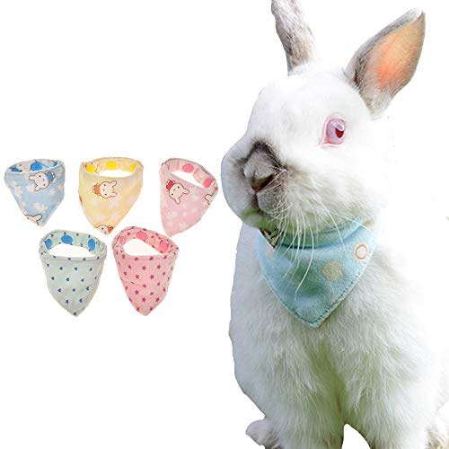 FLAdorepet Cute Bunny Rabbit Bandana Collar Scarf Triangle Bibs Small Animal Chinchilla Ferret Costume Outfits (One Size, Sent by Random)