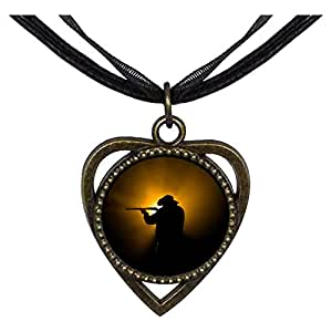 Chicforest Bronze Retro Style Olympics man practise shooting Heart Shaped Pendant