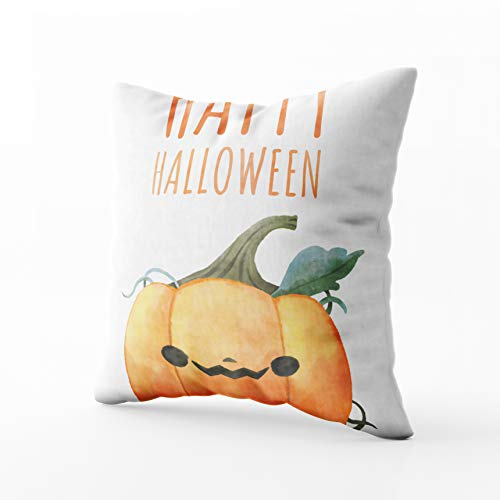 GROOTEY Square Pillowcase with Zip for Easter Couch Sofa Décor Happy Sketch Halloween Pumpkin Isolated White Background Clipping Path includedWatercolor 18X18Inch Throw Pillow Covers Cushion ()
