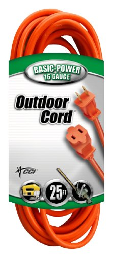 Coleman Memory - Coleman Cable 02207 16/2 Vinyl Outdoor Extension Cord, Orange, 25-Feet