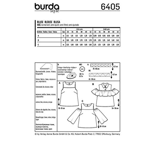 blouse 6405 Burda Patron femme femme Patron femme Burda Patron blouse 6405 Burda blouse C7zdww