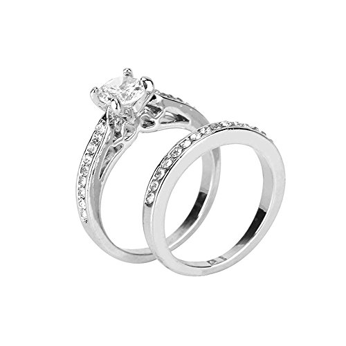 Haluoo 2 Piece Rings Set, Sterling Silver Cubic Zirconia Round Cut Wedding Engagement Ring Halo Diamond Bridal Sets (9, Silver)