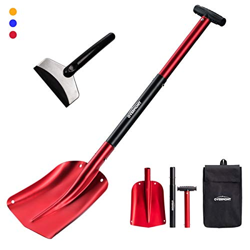 Overmont Snow Shovel Lightweight Aluminum Sport Utility Shovel Portable Collapsible Mud for Car, Camping, Garden