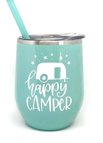 Happy Camper Mint Green Stainless Steel Stemless Wine Glass Tumbler Great for Any Occasion Home or Away