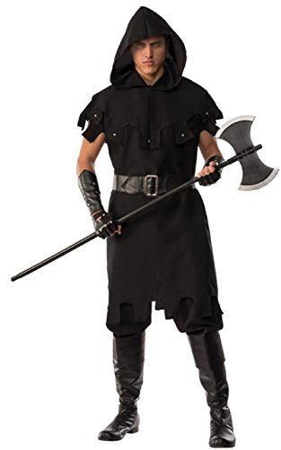 Piz-zaz Pizzaz! Men's Executioner Costume With Hooded Collar, Black, XXL - Medieval Themed Costumes