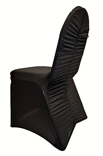10 PCS Black Milan Back Ruched Spandex Banquet CHAIR COVER