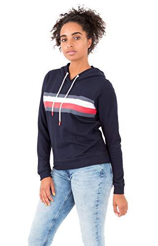Tommy Hilfiger Women's Global Stripe Pullover Hoodie (Navy Blazer, Small)