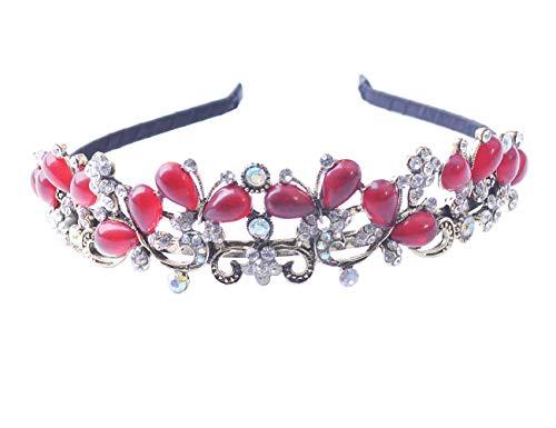 (Crystal Tiara Crowns Hair Jewelry Rhinestone Wedding Bridal Prom Pageant Princess Tiara Queen Headband (garnet))